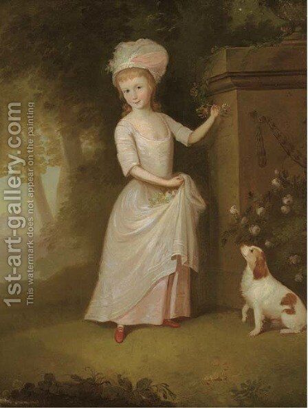 Portrait of a young girl, full-length, in a pink dress, in a garden, a spaniel by her side by (after) Thomas Hickey - Reproduction Oil Painting