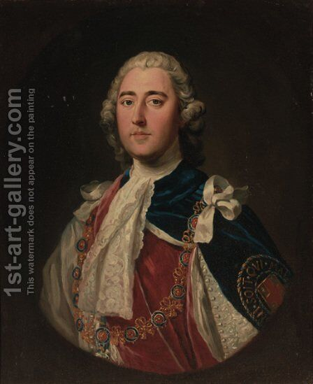 Portrait of a gentleman, quarter-length, in Garter robes, feigned oval by (after) Thomas Hudson - Reproduction Oil Painting