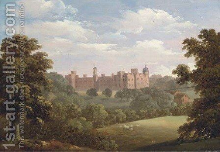 A view of Hatfield House by (after) Thomas Roberts - Reproduction Oil Painting