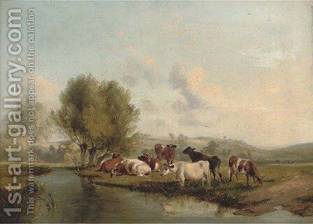 Cattle grazing on the bank of a river by (after) Thomas Sidney Cooper - Reproduction Oil Painting
