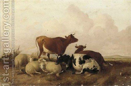Cattle in a water meadow by (after) Thomas Sidney Cooper - Reproduction Oil Painting