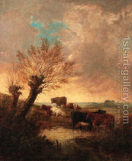 An Extensive Wooded Landscape With Cattle Watering At A Stream by (after) Thomas Sidney Cooper - Reproduction Oil Painting
