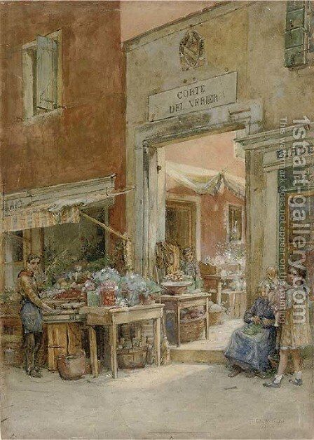 A child and her doll outside a shop, Venice by (after) Thomas Watt Cafe - Reproduction Oil Painting