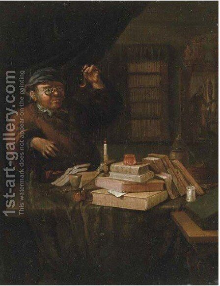 An alchemist in his study by (after) Thomas Wijck - Reproduction Oil Painting