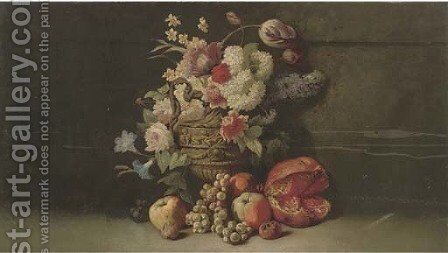 Summer flowers in a classical jug by (after) Thomas Worsey - Reproduction Oil Painting