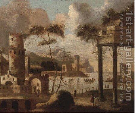 A capriccio of a Mediterranean harbour with shipping by (after) Thomas Wyck - Reproduction Oil Painting