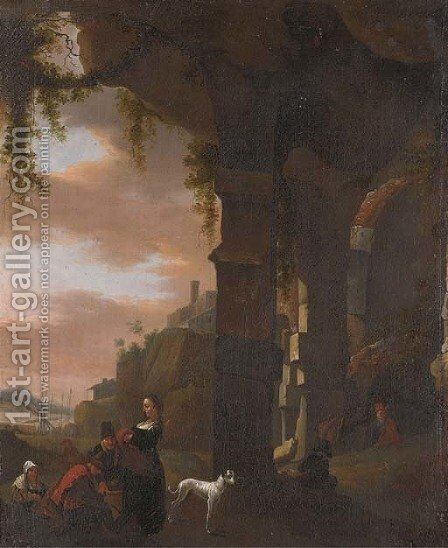 An Italianate landscape with figures by a ruined arch, a harbour beyond by (after) Thomas Wyck - Reproduction Oil Painting