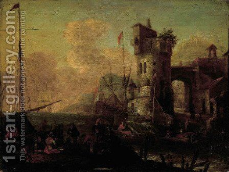 Merchantmen unloading their cargo in an Mediterranean harbour by (after) Thomas Wyck - Reproduction Oil Painting