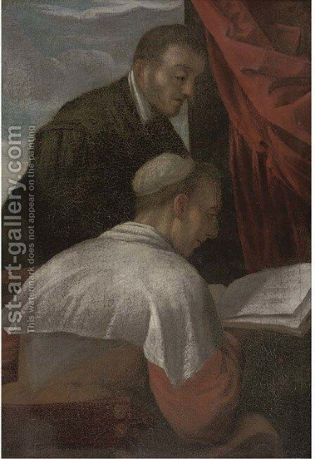 An interior with two clerics by (after) Tiziano Vecellio (Titian) - Reproduction Oil Painting
