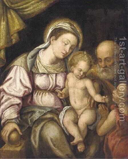 The Holy Family with the Infant Saint John the Baptist by (after) Tiziano Vecellio (Titian) - Reproduction Oil Painting