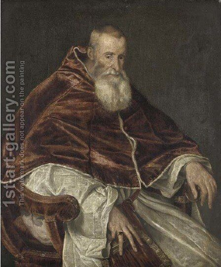 Portrait of Pope Paul III by (after) Tiziano Vecellio (Titian) - Reproduction Oil Painting