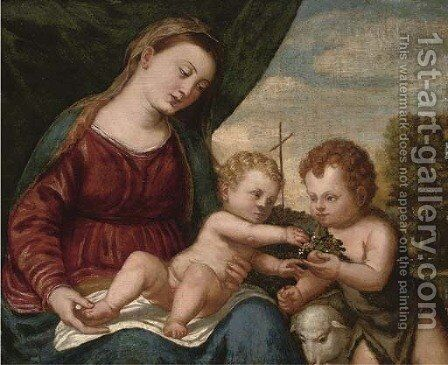 The Madonna and Child with the Infant Saint John the Baptist by (after) Tiziano Vecellio (Titian) - Reproduction Oil Painting