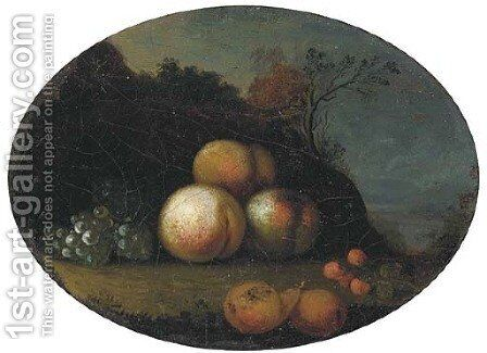 Peaches, grapes, pears and cherries in a wooded clearing by (after) Tobias Stranover - Reproduction Oil Painting