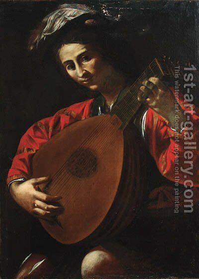 A luteplayer by (after) Jean De Boulogne Valentin - Reproduction Oil Painting