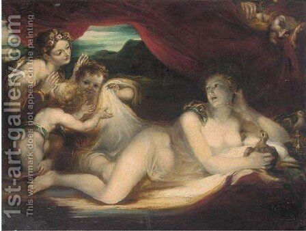 Venus reclining on a couch with cherubs and a nymph, a satyr looking on by (after) Valerio Castello - Reproduction Oil Painting