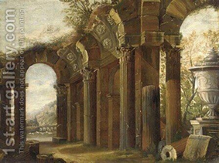 A capriccio of classical ruins with a shepherd and his flock beyond by (after) Viviano Codazzi - Reproduction Oil Painting