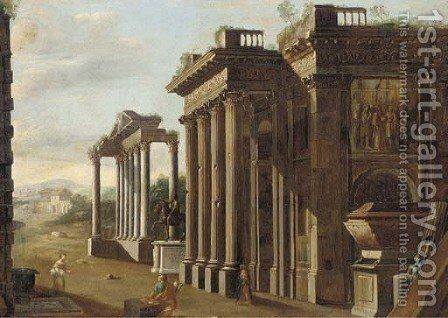 A capriccio of classical ruins with the statue of Marcus Aurelius, a draughtsman and other figures in the foreground by (after) Viviano Codazzi - Reproduction Oil Painting
