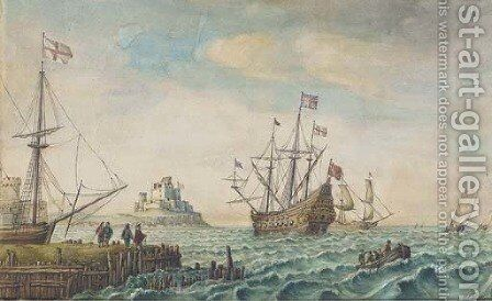 An English galleon anchored off a fortified port by (after) Hollar, Wenceslaus - Reproduction Oil Painting