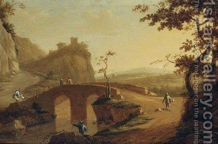 A landscape with travellers crossing a bridge, a hilltop house beyond by (after) Willem De Heusch - Reproduction Oil Painting