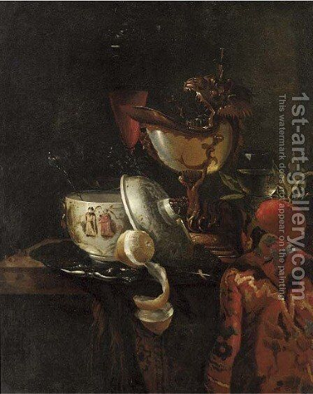 A nautilus cup, an oriental bowl on a silver tray and glasses of wine on a table by (after) Willem Kalf - Reproduction Oil Painting