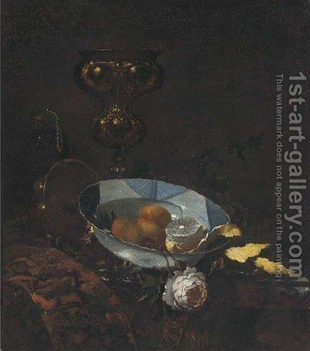 Fruit in a blue and white porcelain bowl by (after) Willem Kalf - Reproduction Oil Painting