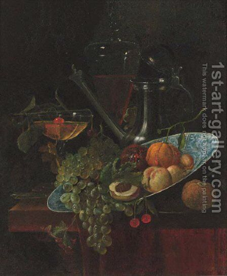 Fruit in a Kraak dish with a pewter ewer and two glasses on a partially draped table by (after) Willem Kalf - Reproduction Oil Painting