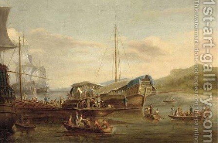A Mediterranean galeasse and trading vessels unloading in an anchorage by (after) Willem Van De Velde - Reproduction Oil Painting