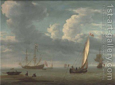 Fishermen collecting lobster pots with a fishing boat in calm waters, warships beyond by (after) Willem Van De Velde - Reproduction Oil Painting