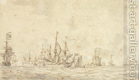 Dutch men o' war and smaller crafts offshore by (after) Willem Van De, The Elder Velde - Reproduction Oil Painting