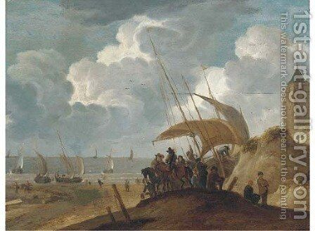 A coastal landscape with peasants and gentlemen on a beach by a boat by (after) Willem Van De, The Younger Velde - Reproduction Oil Painting