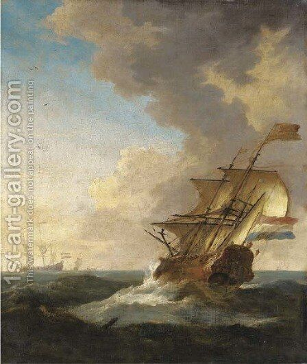 A Dutch frigate sailing in a fresh breeze, other ships beyond by (after) Willem Van De, The Younger Velde - Reproduction Oil Painting