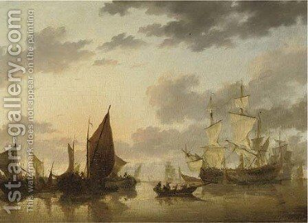 A Dutch three-master and other shipping in a calm by (after) Willem Van De, The Younger Velde - Reproduction Oil Painting