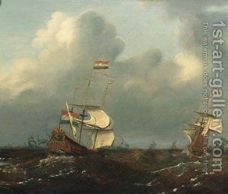 Men-o'-war offshore, as a storm approaches, in a gale by (after) Willem Van De, The Younger Velde - Reproduction Oil Painting