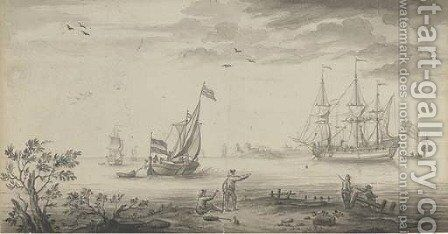 An English man-o'war and a Dutch smalschip at the mouth of the estuary by (after) Willem Van De, The Younger Velde - Reproduction Oil Painting