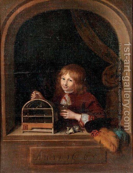A boy in a feigned niche holding a cage with a song bird by (after) Willem Van Mieris - Reproduction Oil Painting