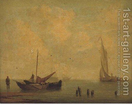 A hay barge offshore making ready to sail by (after) William Anderson - Reproduction Oil Painting