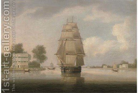 An East Indiaman on the Hooghly River in-bound for Calcutta by (after) William Daniell - Reproduction Oil Painting