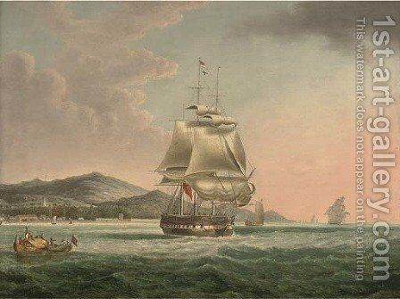 A frigate setting sail off Penang by (after) William Huggins - Reproduction Oil Painting
