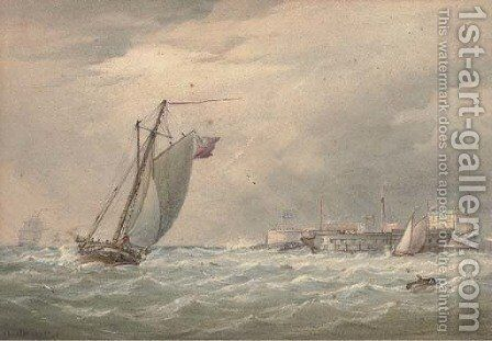 Running into harbour on a blustery day by (after) Joy, W. - Reproduction Oil Painting