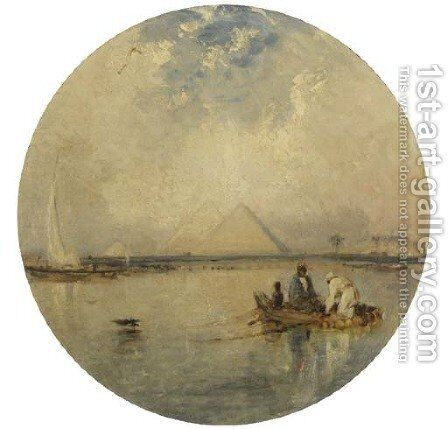 Fishing in the Nile, the pyramids beyond by (after) William James Muller - Reproduction Oil Painting
