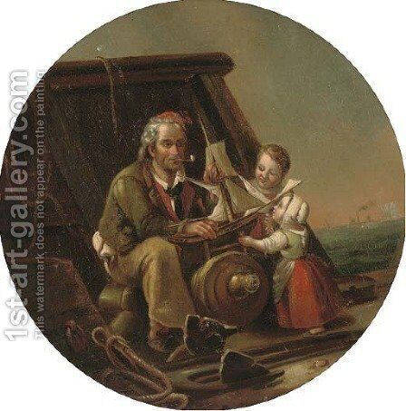 A captive audience by (after) William Mulready - Reproduction Oil Painting