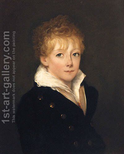 Portrait Of A Boy, Quarter-Length, In A Blue Coat And White Shirt by (after) Of William Owen - Reproduction Oil Painting
