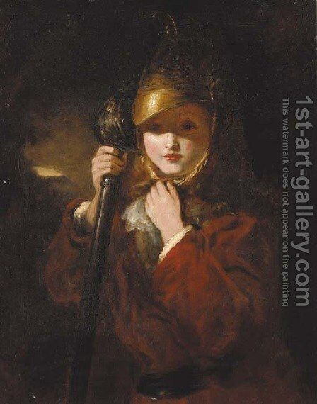 A young boy wearing armour by (after) Frith, William Powell - Reproduction Oil Painting