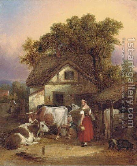 The dairyman's cottage, near Lyndhurst by (after) William Joseph Shayer - Reproduction Oil Painting