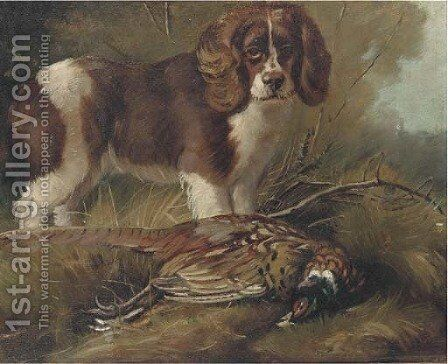 A spaniel with a pheasant by (after) William Woodhouse - Reproduction Oil Painting