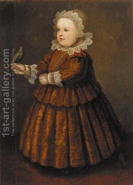 Portrait of a young girl 2 by (after) Wybrand Simonsz. De Geest - Reproduction Oil Painting