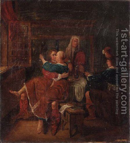 Soldiers courting a woman in a brothel by (after) Richard Brakenburg - Reproduction Oil Painting