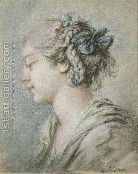 Head of a young girl turned to the right by François Boucher - Reproduction Oil Painting