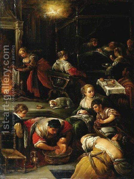 The Birth of the Virgin by Jacopo Bassano (Jacopo da Ponte) - Reproduction Oil Painting