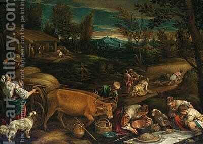 Summer a wooded landscape with peasants harvesting, a meal being laid out in the foreground by Jacopo Bassano (Jacopo da Ponte) - Reproduction Oil Painting